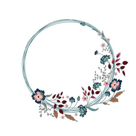 un: Round Floral Frame. Cute flowers arranged un a shape of the wreath perfect for wedding invitations and birthday cards