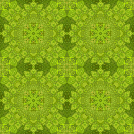 laced: Seamless oriental ornamental pattern. Vector laced decorative background with floral and geometric ornament. Repeating geometric tiles with green mandala. Indian or Arabic motive. Boho festival style.