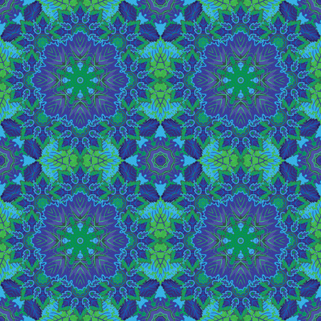 laced: Seamless oriental ornamental pattern. Vector laced decorative background with floral and geometric ornament. Repeating geometric tiles with blue mandala. Indian or Arabic motive. Boho festival style.