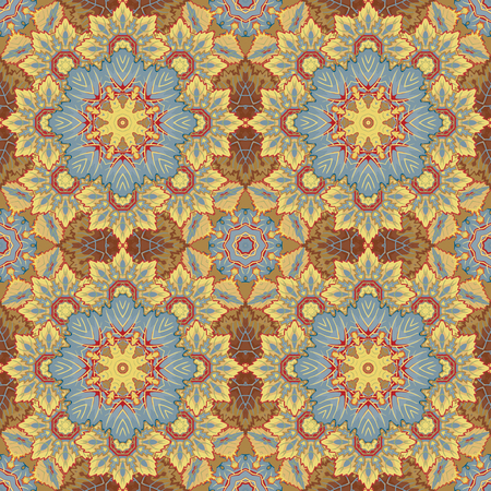 laced: Seamless oriental ornamental pattern. Vector laced decorative background with floral and geometric ornament. Repeating geometric tiles with brown mandala. Indian or Arabic motive. Boho festival style.