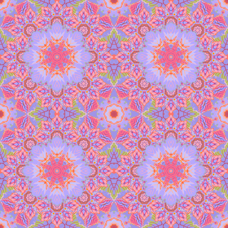 Ethnic floral seamless pattern. Abstract ornamental pattern. Pink blue