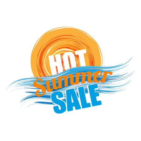 hot summer sale banner - text in blue orange stylized sun and wave symbol, business seasonal shopping concept, vector