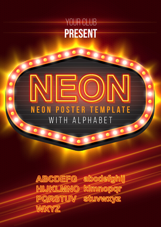 neon alphabet: Poster Template with Glowing Neon Alphabet Kit Illustration