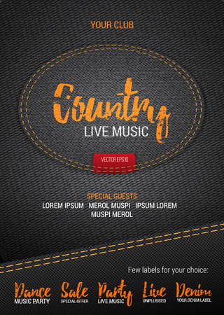 Country music festival poster on denim background. Vector poster template with denim label. Caption thread. Print Ilustrace