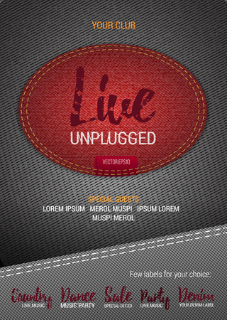 unplugged: Live Unplugged Music flyer or banner with denim background. Vector template with denim label. Caption thread. Print