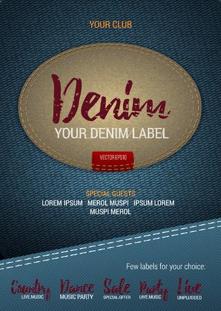Denim Label flyer of banner met denim achtergrond. Vector sjabloon met denim label. Bijschrift thread. Afdrukken Stock Illustratie