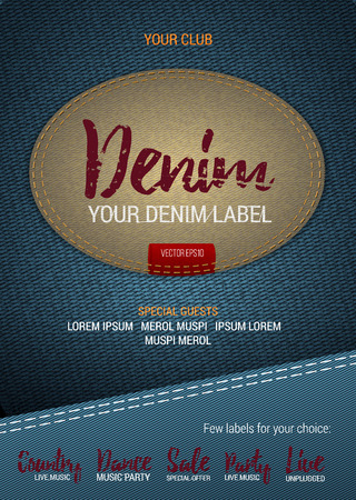 Denim Label flyer or banner with denim background. Vector template with denim label. Caption thread. Print