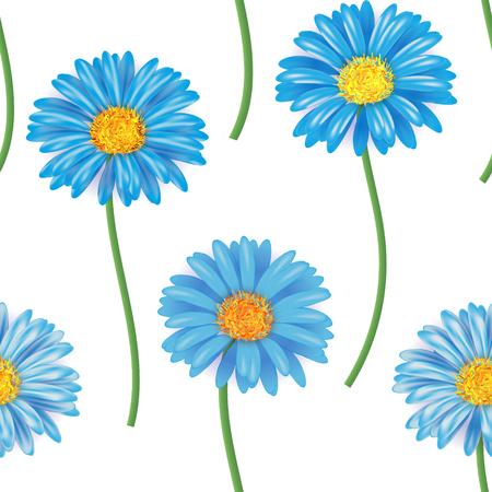 gerbera: Seamless pattern with colorful gerbera flowers. Vector illustration. Blue Illustration