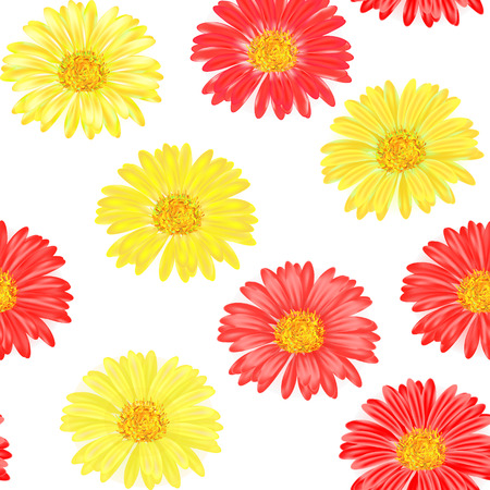 gerbera: Seamless background with red and yellow gerbera.