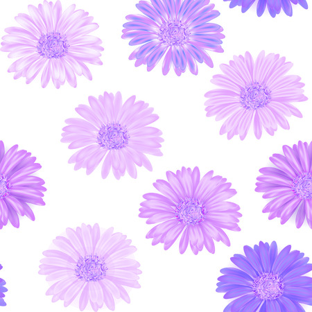 gerbera: Seamless background with lilac gerbera. Illustration