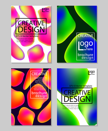 lava lamp: Fluid colors backgrounds set. Holographic effect. Applicable for gift card,cover,poster,brochure,magazine Vector
