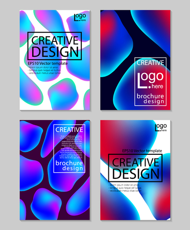 Fluid colors backgrounds set. Holographic effect. Applicable for gift card,cover,poster,brochure,magazine. Vector .