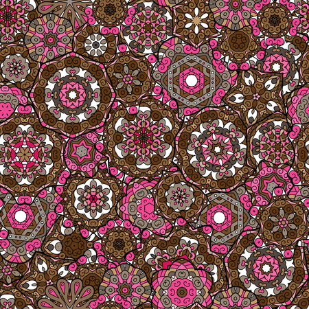 laced: Repeating geometric tiles with mandala. Vector laced decorative background with floral and geometric ornament. Seamless oriental ornamental pattern. Indian or Arabic motive. Brown pink. Illustration