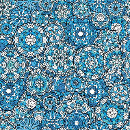 laced: Repeating geometric tiles with mandala. Vector laced decorative background with floral and geometric ornament. Seamless oriental ornamental pattern. Indian or Arabic motive. Blue.