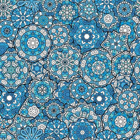 Repeating geometrische Fliesen mit Mandala. Vector geschnürt dekorativen Hintergrund mit floralen und geometrischen Ornament. Nahtlose orientalischen ornamentale Muster. Indische oder arabische Motiv. Blau. Standard-Bild - 59874268