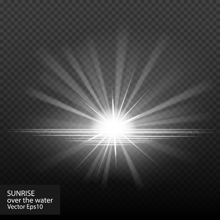 fx: Sunrise over the water. Sunset. Really transparent effects. Vector stock illustration. Dawn, halo, sunlight fx