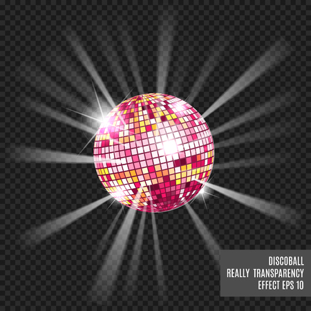 fluorescence: Disco ball with glow. Really tranparency effect. Disco background. Template for your design. Pink.