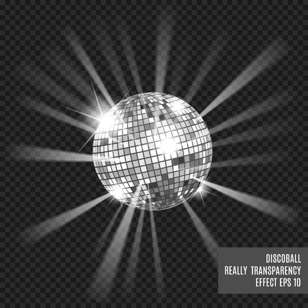 Disco ball with glow. Really tranparency effect. Disco background. Template for your design. Silver