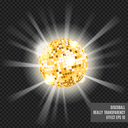 fluorescence: Disco ball with glow. Really tranparency effect. Disco background. Template for your design. Golden