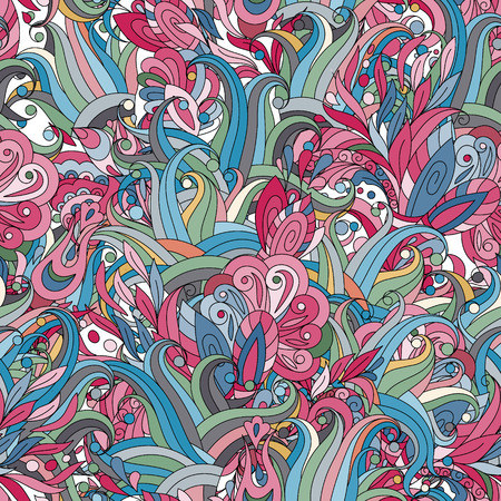 pestel: Seamless pattern background with abstract ornaments. Hand draw illustration. Pastel blue pink colors Illustration