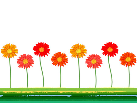 Horizontal seamless background with colorful gerbera flowers. Vector illustration Illustration
