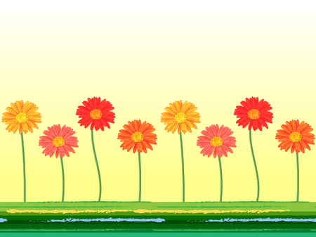 blossoming yellow flower tree: Horizontal seamless background with colorful gerbera flowers. Vector illustration Illustration