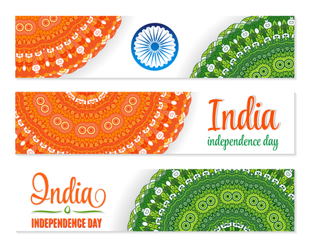 26th: Independence Day. India. Banner set. Traditional mandala ornament. Indian Flag colors. For15th august lettering and Ashoka Wheel. Creative website header.