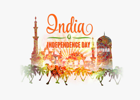 26th: India Independence Day. Colorful background with mandala ornament on traditional indian buildings silhouette.