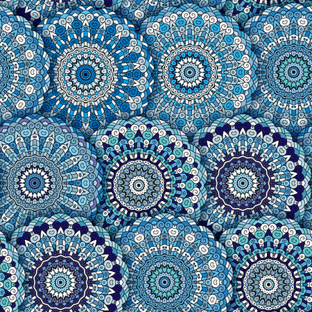 decorative element: Seamless pattern texture. Indian, arabic, turkish style elements. Vintage oriental vector. Hand drawn doodle illustration. Floral pattern. Blue. Illustration