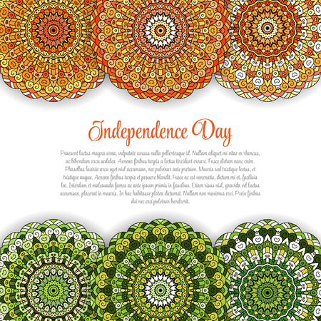 bharatanatyam: Creative Indian Independence Day concept with mandala decorative floral pattern in national flag tricolors.