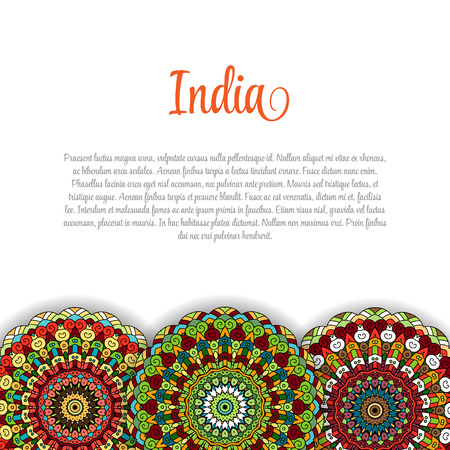 bharatanatyam: Creative Indian Independence Day concept with mandala decorative floral pattern in bright colors. Illustration