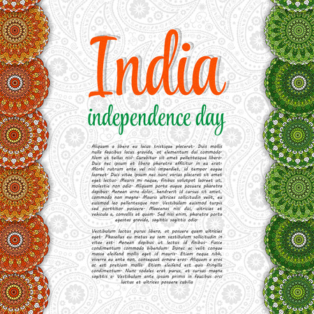 tricolors: Creative Indian Independence Day concept with mandala decorative floral pattern in national flag tricolors.