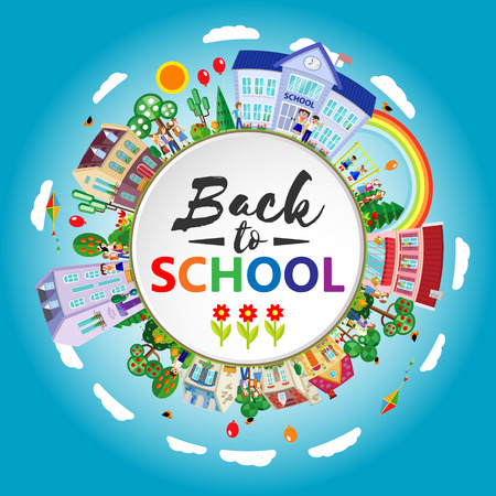 lesson: Back to school. Decorative kids round emblem poster. Flat. Vector illustration