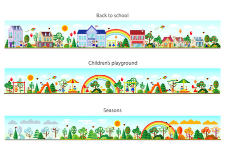 Header set in flat style. Website headers. Banner. Back to school. Children s playground. Seasons. Vector illustration. Buildings and nature elements big set. Vettoriali