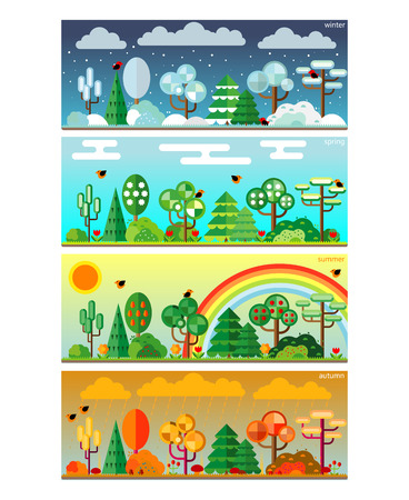 fall trees: 4 seasons park flat style set illustration. Vector. Illustration