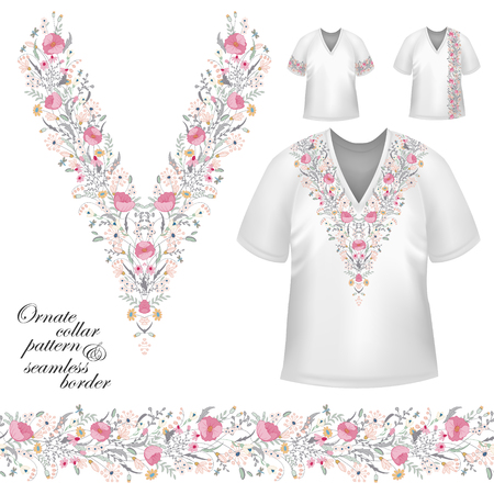 blouses: Vector design for collar shirts, blouses, T-shirt. Cute flowers. Colorful embroidery. Seamless border bonus. Pink gray