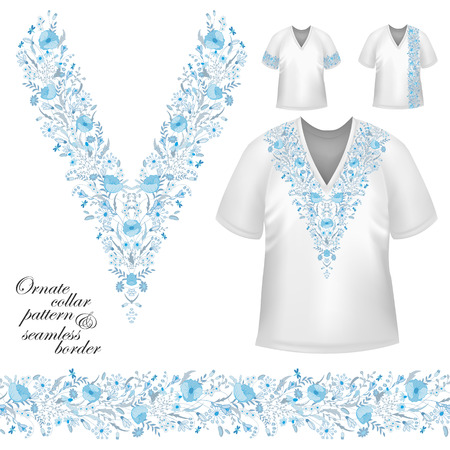 blouses: Vector design for collar shirts, blouses, T-shirt. Cute flowers. Colorful embroidery. Seamless border bonus. Blue Illustration