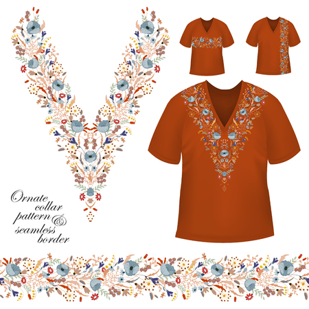 blouses: Vector design for collar shirts, blouses, T-shirt. Cute flowers. Colorful embroidery. Seamless border bonus. Blue brown Illustration