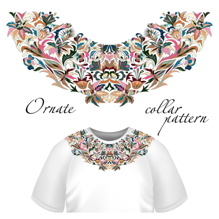 Cuello de impresión vector de diseño floral. Moda colorido collar. Ilustración del vector. Azul marrón rosado