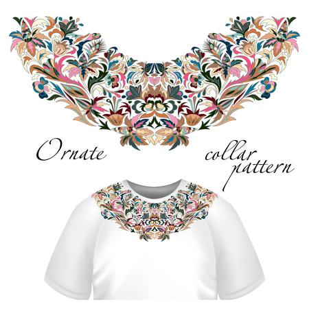 pink and brown: Neck print vector floral design. Fashion colorful collar. Vector illustration. Blue pink brown Illustration