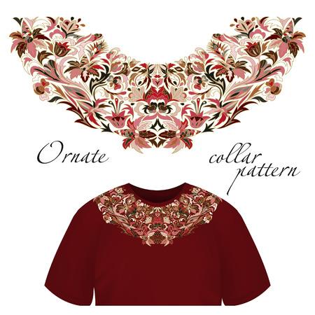 Neck print vector floral design. Fashion white lace collar. Vector illustration. Pink brown Illustration