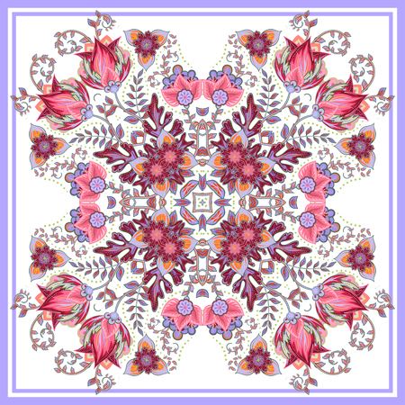 neckerchief: Colorful ornamental floral paisley shawl, bandanna, pillow, scarf. Square pattern. Detailed floral scarf design. Blue pink eastern ornament on white background. Batik