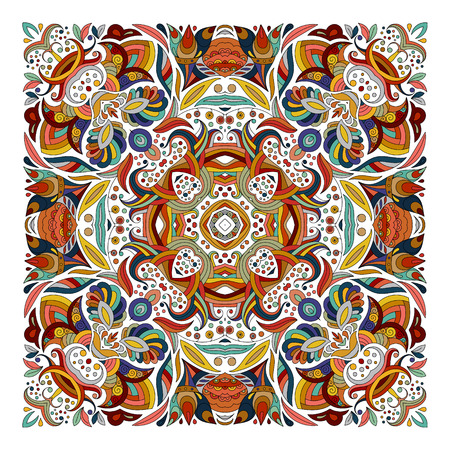 neckerchief: Design for square pocket, shawl, textile, pillow. Vector floral pattern. Blue brown red eastern ornament on white background. Batik