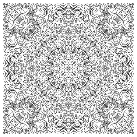 adults: Square coloring book page for adults Illustration