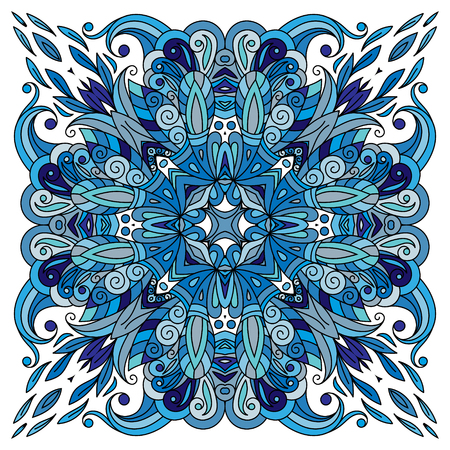 Ornamental doodle floral pattern, design for pocket square, textile, silk shawl, pillow, scarf.