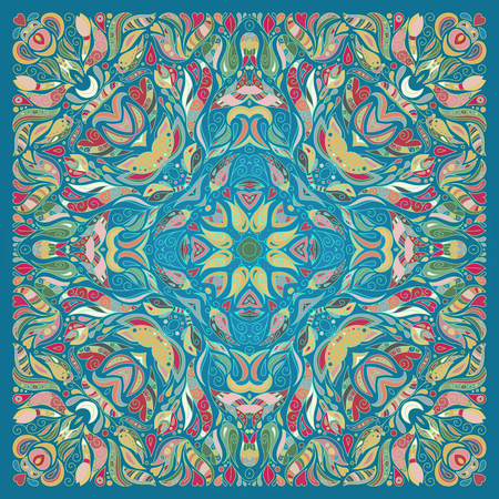 Vector ornament floral Bandana Print, silk neck scarf or kerchief square pattern design style for fabric. Apparel art. Pink yellow blue.