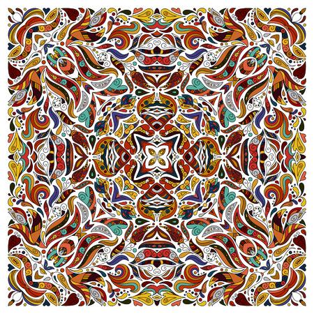 bronx: Vector ornament floral Bandana Print, silk neck scarf or kerchief square pattern design style for fabric. Apparel art. Brown orange blue. Illustration