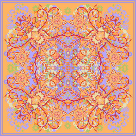 authentic silk neck scarf or kerchief square pattern design in eastern style for print on fabric, vector illustration. Blue opange fantasy flower on light orange background.