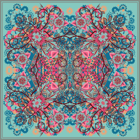 hanky: authentic silk neck scarf or kerchief square pattern design in eastern style for print on fabric, vector illustration. Blue pink beige fantasy flower on light blue background. Illustration