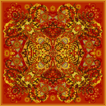 neck scarf: authentic silk neck scarf or kerchief square pattern design in eastern style for print on fabric, vector illustration. Bright yellow red fantasy flower on dark orange background.